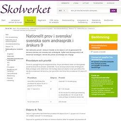 Nationellt prov i svenska/ svenska som andraspråk i årskurs 9