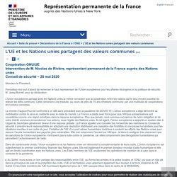 L'UE et les Nations unies partagent des valeurs communes - France ONU