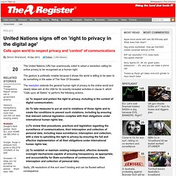 United Nations signs off on 'right to privacy in the digital age'