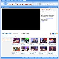 United Nations Webcast - Plenary Session 'Trust and Tolerance to Advance Development Goals'