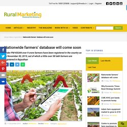 Nationwide farmers' database will come soon