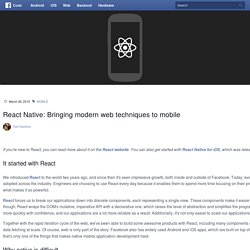 React Native: Bringing modern web techniques to mobile