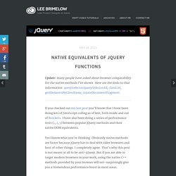 Native equivalents of jQuery functions
