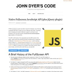 Native Fullscreen JavaScript API (plus jQuery plugin)