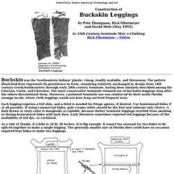 19th Century Seminole Men`s Clothing ~ Buckskin Leggings