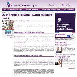 Quand Natixis et Merrill Lynch enterrent l'euro