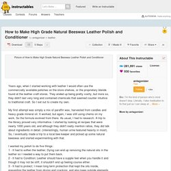 How to Make High Grade Natural Beeswax Leather Polish and Conditioner: 5 Steps (with Pictures)