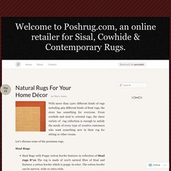 Natural Rugs For Your Home Décor « Welcome to Poshrug.com, an online retailer for Sisal, Cowhide & Contemporary Rugs.