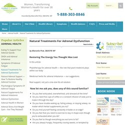 Natural Treatments For Adrenal Dysfunction