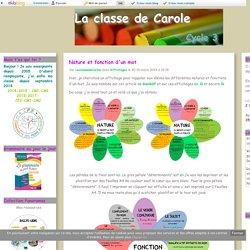 Nature et fonction d'un mot - La classe de Carole