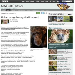 BBC Nature - Chimp recognises synthetic speech