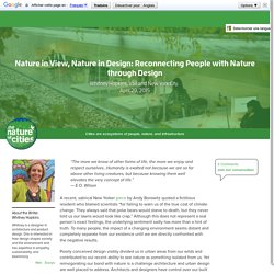 Nature in View, Nature in Design: Reconnecting People with Nature through Design