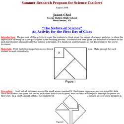 The Nature of Science - An Activity for the First Day of Class