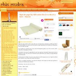 Chin Mudra [ Tapis de yoga Taj 100% coton Bio 2 m x 66 cm x 5mm - Naturel ] France ¤ Accessoires pour le Yoga