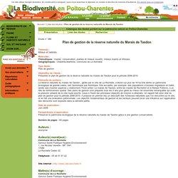 Plan de gestion de la réserve naturelle du Marais de Tasdon - Catalogue des études portant sur le patrimoine naturel en Poitou-Charentes