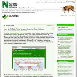 Science News: NHM Data Portal: a commitment to Open Science