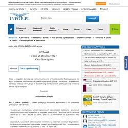USTAWA z dnia 26 stycznia 1982 r. Karta Nauczyciela - Tekst ujednolicony - Baza aktów prawnych - INFOR.pl - portal księgowych