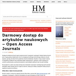 Darmowy dostęp do artykułów naukowych – Open Access Journals - historiaimedia.org