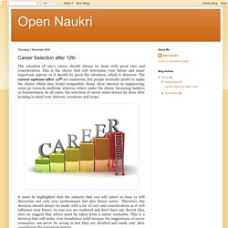Open Naukri: Career Selection after 12th