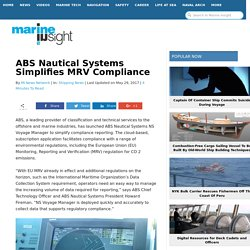ABS Nautical Systems Simplifies MRV Compliance