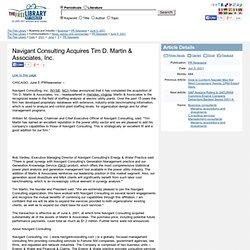 Navigant Consulting Acquires Tim D. Martin & Associates, Inc