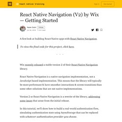 React Native Navigation (V2) by Wix — Getting Started