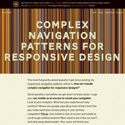 Complex Navigation Patterns for Responsive Design