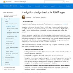 Navigation design basics for Universal Windows Platform (UWP) apps