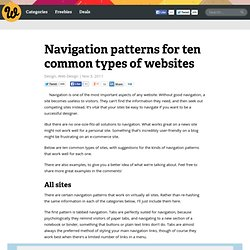 Navigation patterns for ten common types of websites