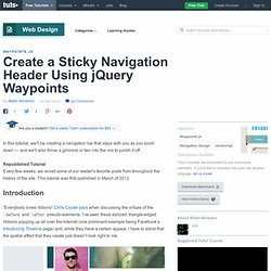 Create a Sticky Navigation Header Using jQuery Waypoints