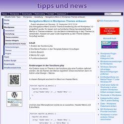 Navigations-Menü in Wordpress Themes einbauen
