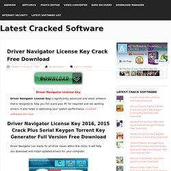 Driver Navigator License Key Crack Free Download
