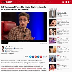 NBCUniversal Set to Invest in BuzzFeed, Vox Media