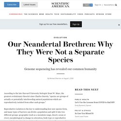 Our Neandertal Brethren: Why They Were Not a Separate Species