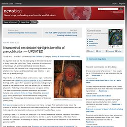 Neanderthal sex debate highlights benefits of pre-publication