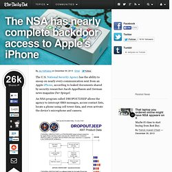 The NSA has nearly complete backdoor access to Apple's iPhone