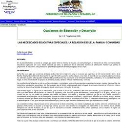 LAS NECESIDADES EDUCATIVAS ESPECIALES. LA RELACIÓN ESCUELA- FAMILIA- COMUNIDAD
