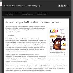 DocentesConectados+NEESoftware libre para las Necesidades Educativas Especiales
