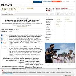 Se necesita 'community manager' · ELPAÍS.com