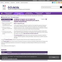 Espace B2i Lycée : documents d'appui - Mettre en œuvre, sur un moteur de recherche, les filtres nécessaires pour que la requête soit pertinente.