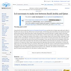 Is it necessary to make row between Saudi Arabia and Qatar - Wikinews, the free news source