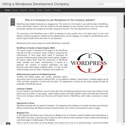 Hiring a Wordpress Development Company: Why is it necessary to use Wordpress for the company website?