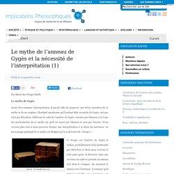 Le mythe de l'anneau de Gygès et la nécessité de l'interprétation