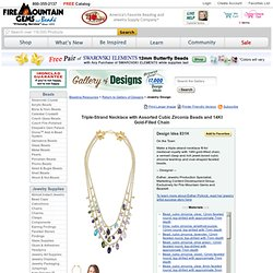 Triple-Strand Necklace with Assorted Cubic Zirconia Beads and 14Kt Gold-Filled Chain