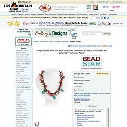 Single-Strand Necklace with Turquoise Gemstone Beads, Coral Beads and Cultured Freshwater Pearls