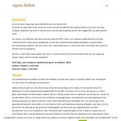Initiatief en Missie - Brandbrief Nederlandse artsen over coronamaatregelen