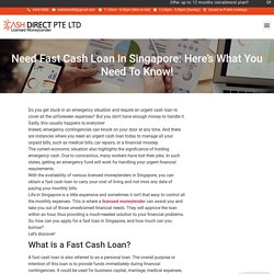 Need Fast Cash Loan In Singapore: Here's What You Need To Know!