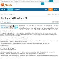Need Help to Fix AOL Tech Error 116