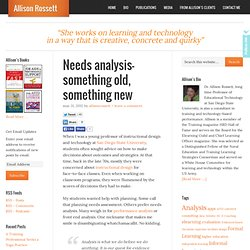 Needs analysis– something old, something new