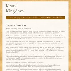 Negative Capability - Keats' Kingdom